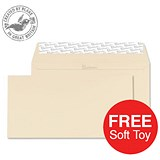 Image of Blake Premium DL Wallet Envelopes / Wove / Cream / Peel & Seal / 120gsm / 2 Packs of 500 / Offer Includes FREE Zebra Soft Toy