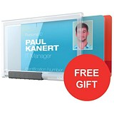 Image of Durable Pushbox Duo Card Holder / 87x54mm / Pack of 10 / Offer Includes FREE Red Lanyards