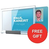 Image of Durable Pushbox Mono Card Holder / 87x54mm / Pack of 10 / Offer Includes FREE Blue Lanyards