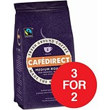 Image of Cafe Direct Fairtrade Filter Coffee / Medium Roast / 227g / 3 for the Price of 2 with a FREE Cafetiere