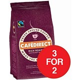 Image of Cafe Direct Fairtrade Ground Coffee / Rich Roast / 227g / 3 for the Price of 2 with a FREE Cafetiere