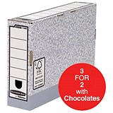 Image of Fellowes Bankers Box Transfer Files / 80mm / Pack of 10 / 3 for the price of 2 with FREE Cadbury Hero Bag