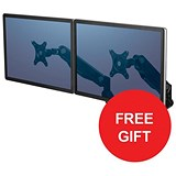 Image of Fellowes Dual Monitor Arm / Adjustable 360-degree Rotation / Black / Offer Includes FREE Evian Water 24 pack