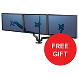 Image of Fellowes Triple Monitor Arm / Adjustable 360-degree Rotation / Black / Offer Includes FREE Evian Water 24 pack