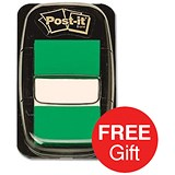Image of Post-it Index Flags / Green / 24 Pads of 50 Notes / Redeem your FREE Tote Gift Bag