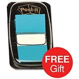 Image of Post-it Index Flags / Bright Blue / 24 Pads of 50 Notes / Redeem your FREE Tote Gift Bag