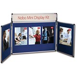 Image of Nobo Mini Display Panel Kit Central - 1x W900xH600mm & 2x W450xH600mm Panels - Blue