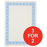 Image of A4 Certificate Papers with Foil Seals / Blue / 90gsm / Pack of 30 / 3 for the Price of 2