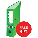 Image of Rexel Colorado A4 Lever Arch Files / Plastic / 80mm Spine / Green / Pack of 10 / Offer Includes FREE Plastic Pockets