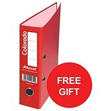 Image of Rexel Colorado A4 Lever Arch Files / Plastic / 80mm Spine / Red / Pack of 10 / Offer Includes FREE Plastic Pockets