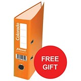 Image of Rexel Colorado A4 Lever Arch Files / Plastic / 80mm Spine / Orange / Pack of 10 / Offer Includes FREE Plastic Pockets
