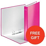 Image of Leitz WOW Ring Binder / 2 D-Ring / 40mm Spine / 25mm Capacity / A4 / Pink / Pack of 10 / Redeem Your FREE Pen Pot