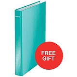 Image of Leitz WOW Ring Binder / 2 D-Ring / 40mm Spine / 25mm Capacity / A4 / Ice Blue / Pack of 10 / Redeem Your FREE Pen Pot