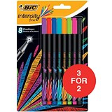 Image of Bic Intensity Fine Writing Felt Pen / Bright Assorted / Pack of 8 / 3 for the Price of 2