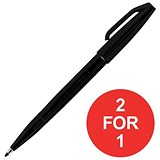 Image of Pentel Sign Pen S520 Fibre Tipped Pen / 1mm Line / Black / Pack of 12 / Buy One Get One FREE