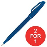 Image of Pentel Sign Pen S520 Fibre Tipped Pen / 1mm Line / Blue / Pack of 12 / Buy One Get One FREE