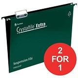 Image of Rexel CrystalFiles Extra Suspension Files / V Base / 15mm Capacity / Foolscap / Green / Pack of 25 / Buy One Get One FREE