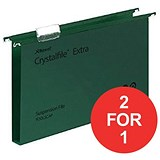 Image of Rexel CrystalFiles Extra Suspension Files / Square Base / 30mm Capacity / Foolscap / Green / Pack of 25 / Buy One Get One FREE