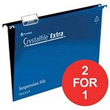 Image of Rexel CrystalFiles Extra Suspension Files / V Base / 15mm Capacity / Foolscap / Blue / Pack of 25 / Buy One Get One FREE