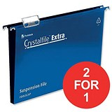 Image of Rexel CrystalFiles Extra Suspension Files / Square Base / 30mm Capacity / Foolscap / Blue / Pack of 25 / Buy One Get One FREE