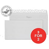 Image of Blake Premium DL Wallet Envelopes / Wove / Brilliant White / Peel & Seal / 120gsm / Pack of 500 / 3 for the Price of 2