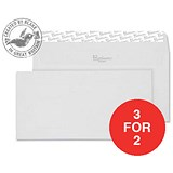 Image of Blake Premium DL Wallet Envelopes / Wove / High White / Peel & Seal / 120gsm / Pack of 500 / 3 for the Price of 2