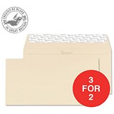 Image of Blake Premium DL Wallet Envelopes / Wove / Cream / Peel & Seal / 120gsm / Pack of 500 / 3 for the Price of 2