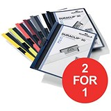 Image of Durable Duraclip Folders / PVC / Clear Front / 3mm Spine for 30 Sheets / A4 / Assorted / Pack of 25 / Buy One Get One FREE