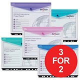 Image of Snopake PolyFile Ring Binder Wallets / High Capacity / A4 Landscape / Assorted / Pack of 5 / 3 for the price of 2