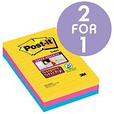 Image of Post-it Super Sticky Removable Notes / 102x152mm / Rio Assorted / Pack of 3 x 90 Notes / Buy One Get One FREE