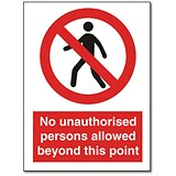 Stewart Superior Sign Self-adhesive Vinyl - No Unauthorised Persons - 200x150mm Ref NS021
