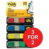 Image of Post-it Small Repositionable Index Flags / Standard Colours / Pack of 140 / 3 for the Price of 2
