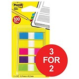 Image of Post-it Small Index Portable pack / Bright Colours / Pack of 100 / 3 for the Price of 2