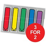 Image of Post-it Index Arrows Portable Pack / Assorted Standard Colours / Pack of 100 / 3 for the Price of 2