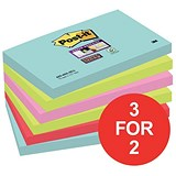Image of Post-It Super Sticky Notes / 76x127mm / Miami Neon Assorted / 6 Pads of 90 Notes / 3 for the Price of 2