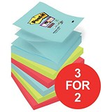 Image of Post-it Super Sticky Z-Notes / 76x76mm / Miami / 6 Pads of 90 Notes / 3 for the Price of 2