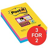 Image of Post-it Super Sticky Removable Notes / 101x152mm / Rio Assorted / 3 Pads of 90 Notes / 3 for the Price of 2