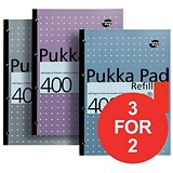 Image of Pukka Pad Sidebound Refill Pad / A4 / Ruled with Margin / Punched / 400 Pages / Pack of 5 / 3 for the Price of 2