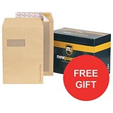 Image of New Guardian C4 Board-backed Envelopes / Window / Peel & Seal / Manilla / Pack of 125 / Offer Includes FREE Envelopes