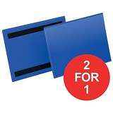 Image of Durable Magnetic Document Sleeves / A5 / Landscape / Blue / Pack of 50 / Buy One Get One FREE