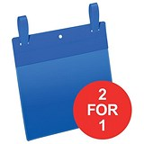 Image of Durable Pockets / Fastening Strips / A5 / Landscape / Blue / Pack of 50 / Buy One Get One FREE