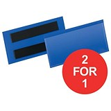 Image of Durable Magnetic Document Sleeves / 110x38mm / Blue / Pack of 50 / Buy One Get One FREE