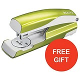 Image of Leitz NeXXt WOW Stapler / 3mm / 30 Sheet Capacity / Green / Offer Includes FREE Green Duo Letter Tray