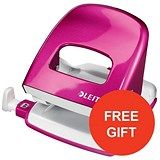 Image of Leitz NeXXt WOW Hole Punch / Pink / Punch capacity: 30 Sheets / Offer Includes FREE Pink Duo Letter Tray