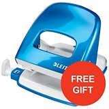 Image of Leitz NeXXt WOW Hole Punch / Blue / Punch capacity: 30 Sheets / Offer Includes FREE Blue Duo Letter Tray