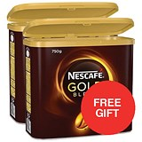 Image of Nescafe Gold Blend Instant Coffee / 2 x 750g Tins / Offer Includes FREE Rowntree minis sharing pack