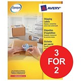 Image of Avery BlockOut Laser Addressing Labels / 2 per Sheet / 199.6x143.5mm / White / L7168-100 / 200 Labels / 3 for the Price of 2