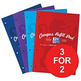 Image of Oxford Campus Refill Pad / A4 / Ruled & Margin / Assorted / Pack of 3 / 3 for the Price of 2