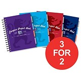 Image of Oxford Campus Twinwire Project Book / A5 / Ruled & Margin / Assorted / Pack of 5 / 3 for the Price of 2