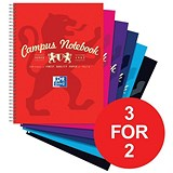 Image of Campus Laminated Card Cover Wirebound Notebook / A4+ / 4 Hole / 140 Pages / Pack of 5 / 3 for the Price of 2